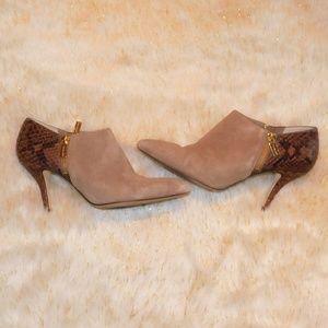 Michael Kors Suede and Snakeskin Leather Heels